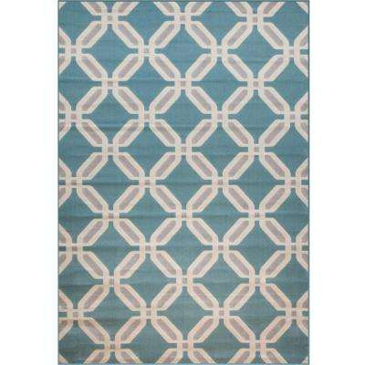 Broadway Linked Teal 5 ft. 3 in. x 7 ft. 9 in. Area Rug