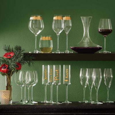Cheers 8 oz. Glass Champagne Flutes in Gold