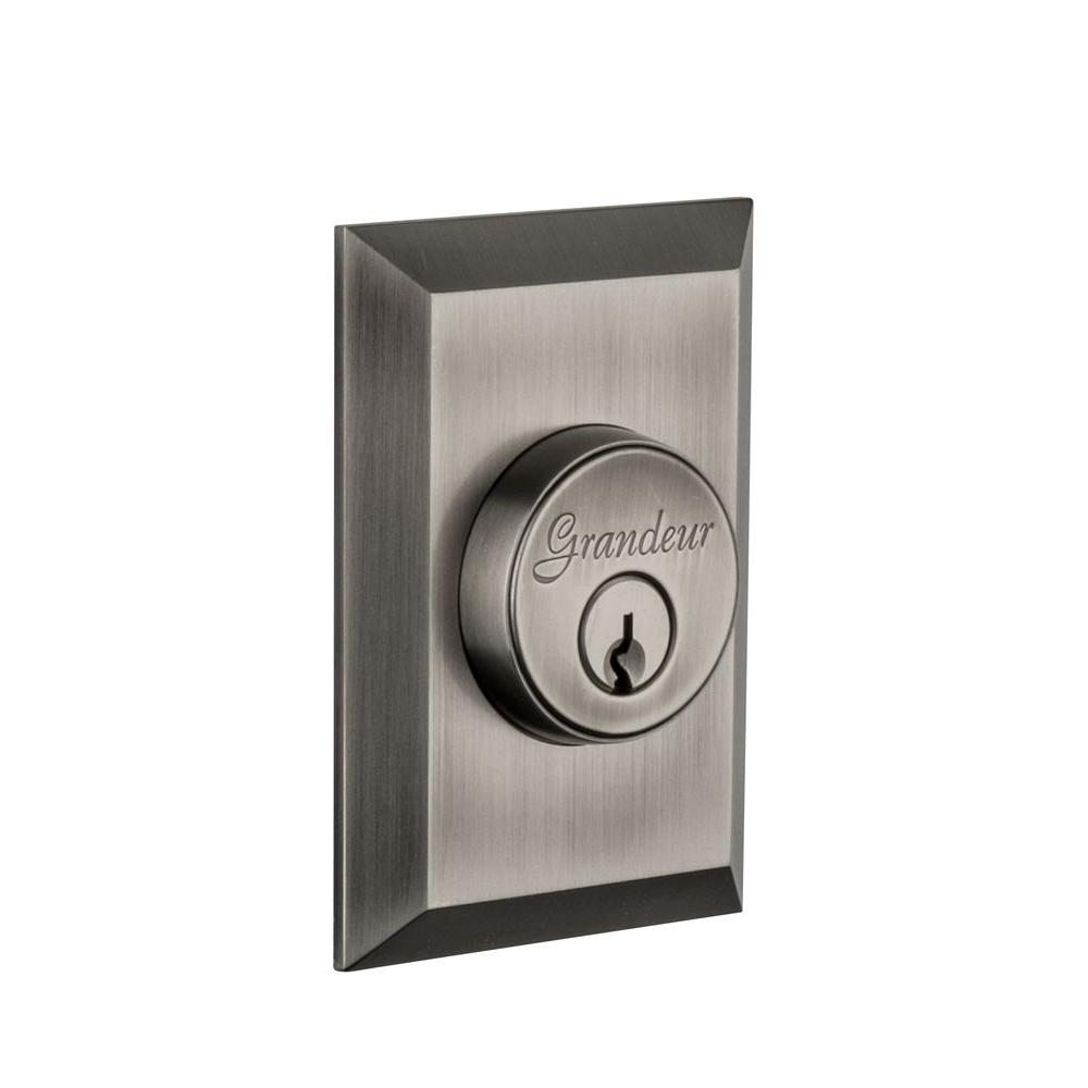 Nostalgic Warehouse Fifth Avenue Antique Pewter Double Cylinder Deadbolt - Keyed Differently