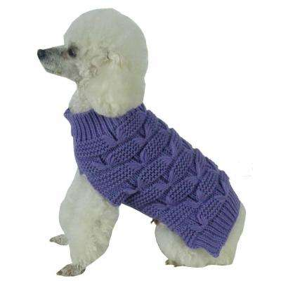 Medium Lavender Purple Butterfly Stitched Heavy Cable Knitted Fashion Turtle Neck Dog Sweater