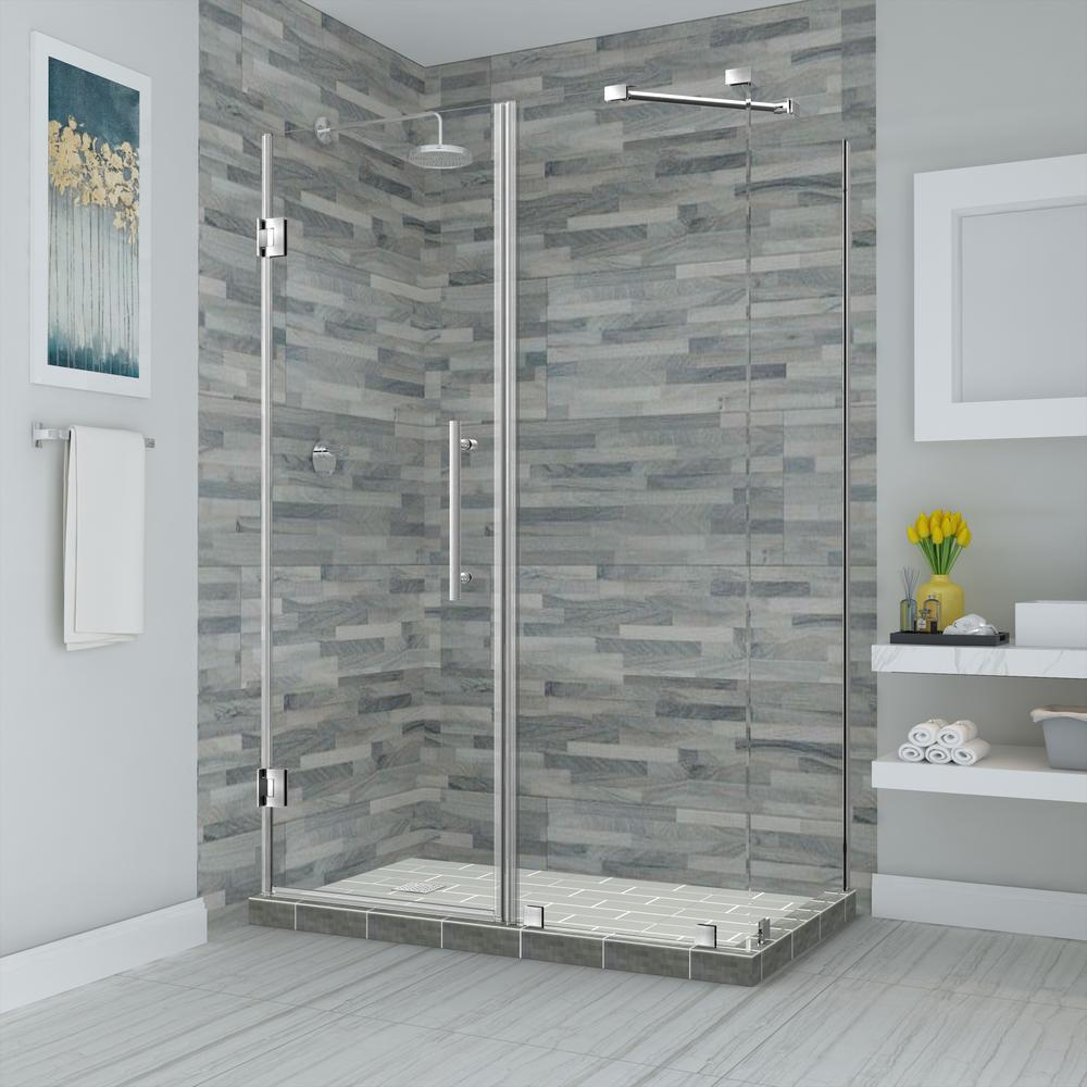 Aston Bromley 56.25 in. to 57.25 in. x 38.375 in. x 72 in. Frameless Corner Hinged Shower Enclosure in Stainless Steel