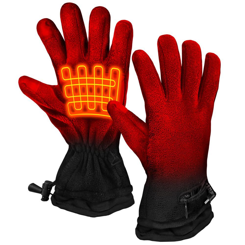 Unisex Black AA Battery Heated Fleece Gloves by ActionHeat