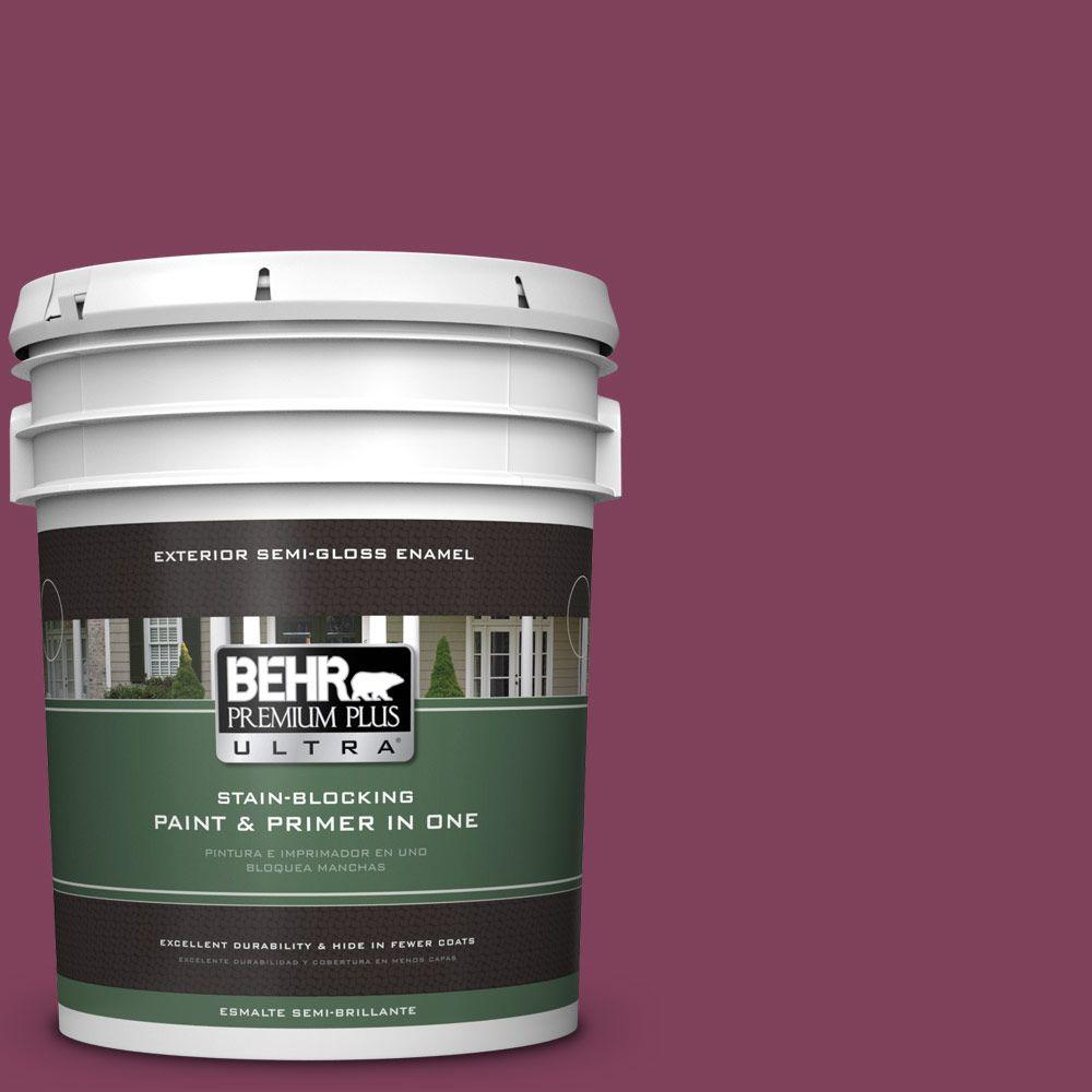 BEHR Premium Plus Ultra Home Decorators Collection 5-gal. #hdc-WR14-12 Cheerful Wine Semi-Gloss Enamel Exterior Paint, Reds/Pinks