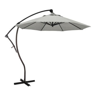 9 ft. Bronze Aluminum Cantilever Patio Umbrella with Crank Open 360  Rotation in Granite Sunbrella