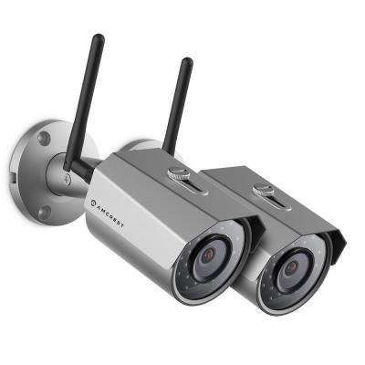 ProHD Outdoor Bullet 3MP (2304px1296p) WiFi Wireless IP Surveillance Camera with IP67 Weatherproof, Silver (2-Pack)