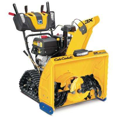 3X 30 in. 420cc Track Drive Three-Stage Electric Start Gas Snow Blower with Steel Chute Power Steering and Heated Grips