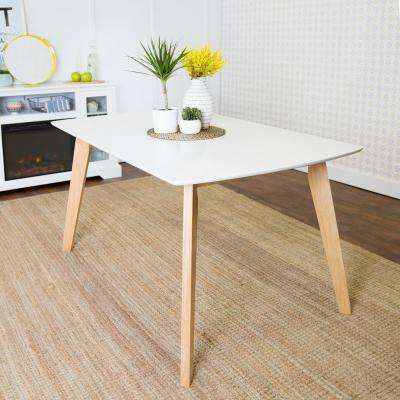 Retro Modern White and Natural Stain Resistant Dining Table