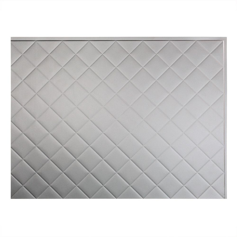 Fasade 24 in. x 18 in. Quilted PVC Decorative Backsplash Panel in Argent Silver