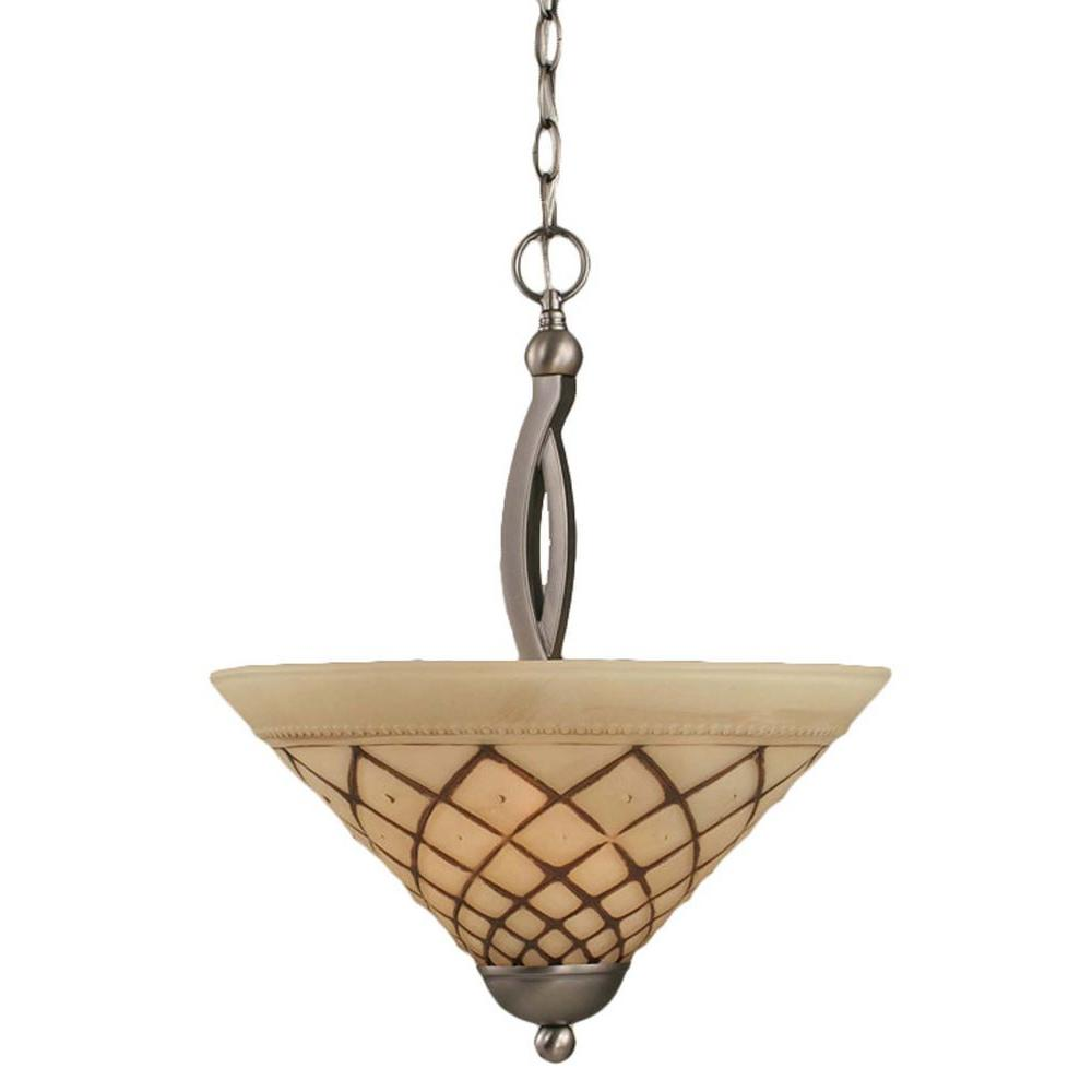 Concord 2-Light Brushed Nickel Pendant with Chocolate Icing Glass