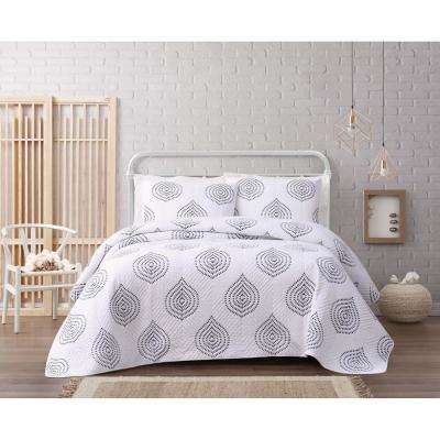 Embroidered Ogee 3-Piece White/Khaki King Quilt Set