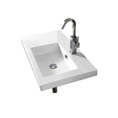 Condal Wall Mounted Ceramic Bathroom Sink in White