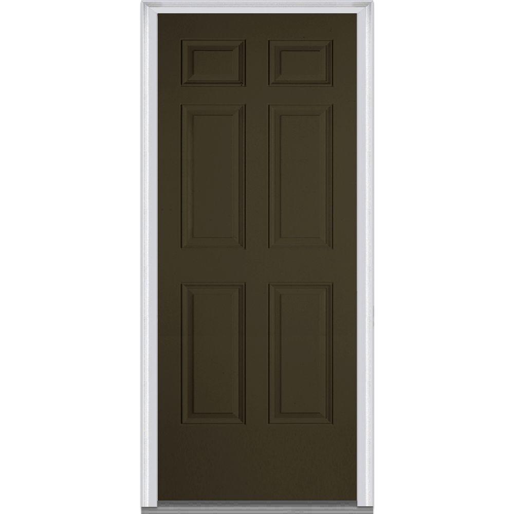 Mmi door 36 in x 80 in left hand inswing 6 panel classic for Prehung entry door with storm door