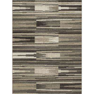 New Casa Patch Stripes Grey 7 ft. x 10 ft. Area Rug
