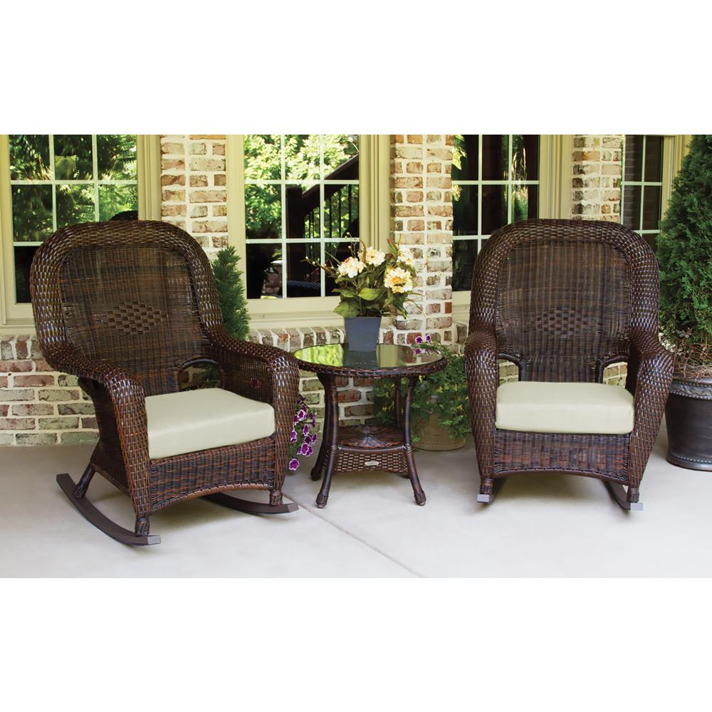 Tortuga Outdoor Sea Pines Java 3 Piece Wicker Outdoor Rocking Chair Set  With Sunbrella Canvas