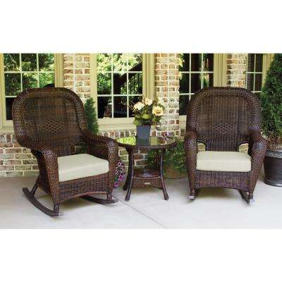 Sea Pines Java 3-Piece Wicker Outdoor Rocking Chair Set with Sunbrella Canvas Canvas
