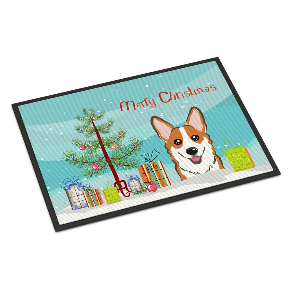 Caroline S Treasures 24 In X 36 In Indoor Outdoor Christmas Tree And Red Corgi Door Mat Bb1626jmat The Home Depot