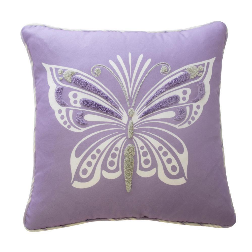 Ipanema Polyester Square Purple Decorative Pillow