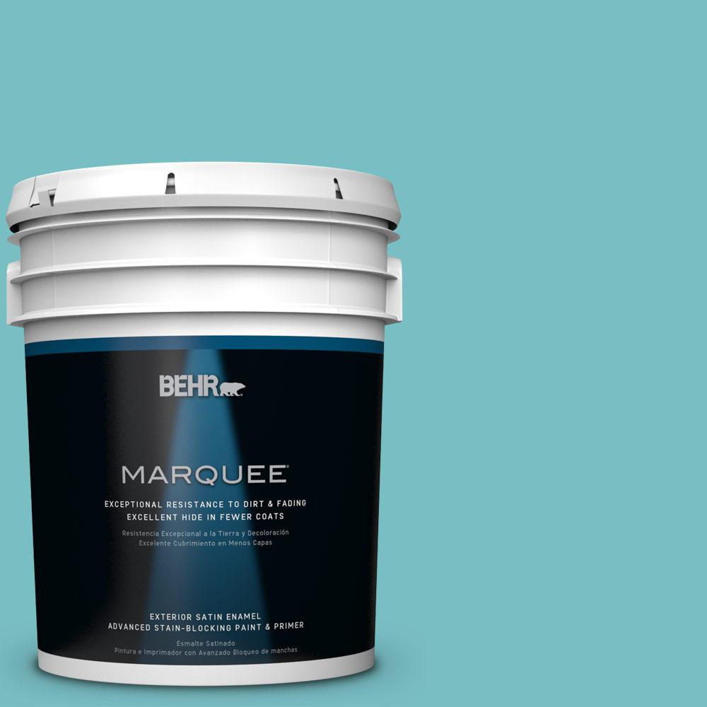 BEHR MARQUEE 5-gal. #M460-4 Pure Turquoise Satin Enamel Exterior Paint