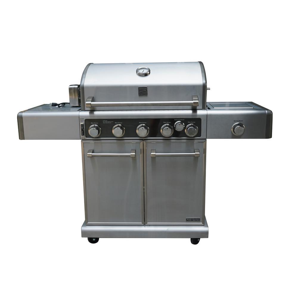 5 Burner Grill plus Infrared Searing Side Burner, Infrared Rear Burner and Rotisserie Kit Stainless Steel Grill