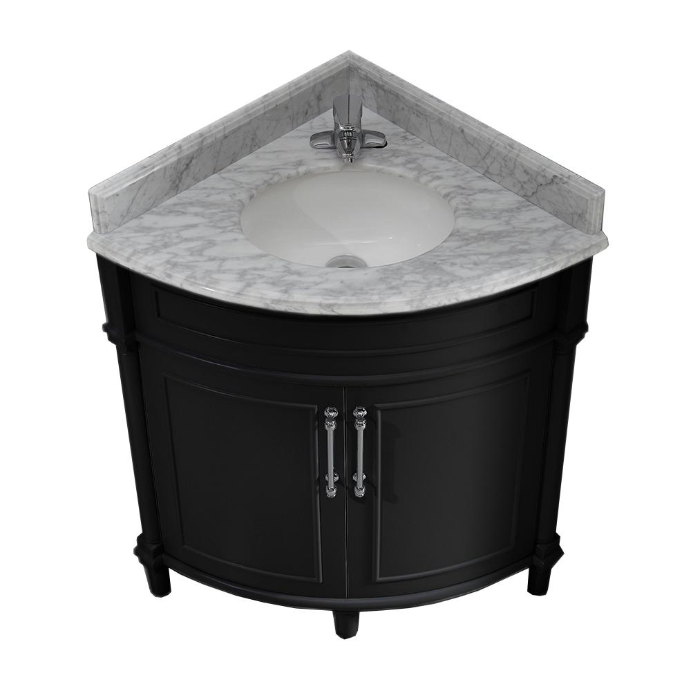 Home Decorators Collection Aberdeen 32 In W X 23 In D Corner Vanity In Black With Marble