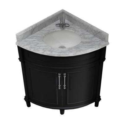 Aberdeen 32 in. W x 23 in. D Corner Vanity in Black with Marble Vanity Top in White with White Basin