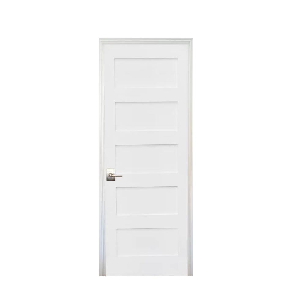 30 in. x 80 in. Shaker Primed 5-Panel Left-Handed Solid Core MDF Single Prehung Interior Door