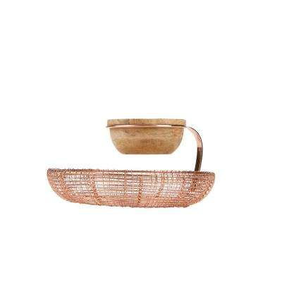 Rose Gold Iron and Wood Tiered Chips and Dips Set