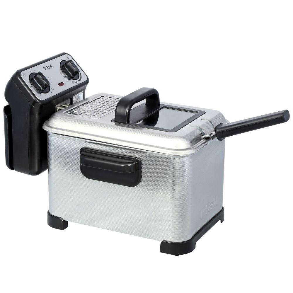 Deep Fryer, Stainless This family-sized deep fryer holds up to 2.6 lbs. food and 3 l of oil - enough for the hungriest crowd. It's waffle finish provides durability and it's adjustable thermostat allows you to select the perfect temperature. Great features for great frying. Color: Stainless.