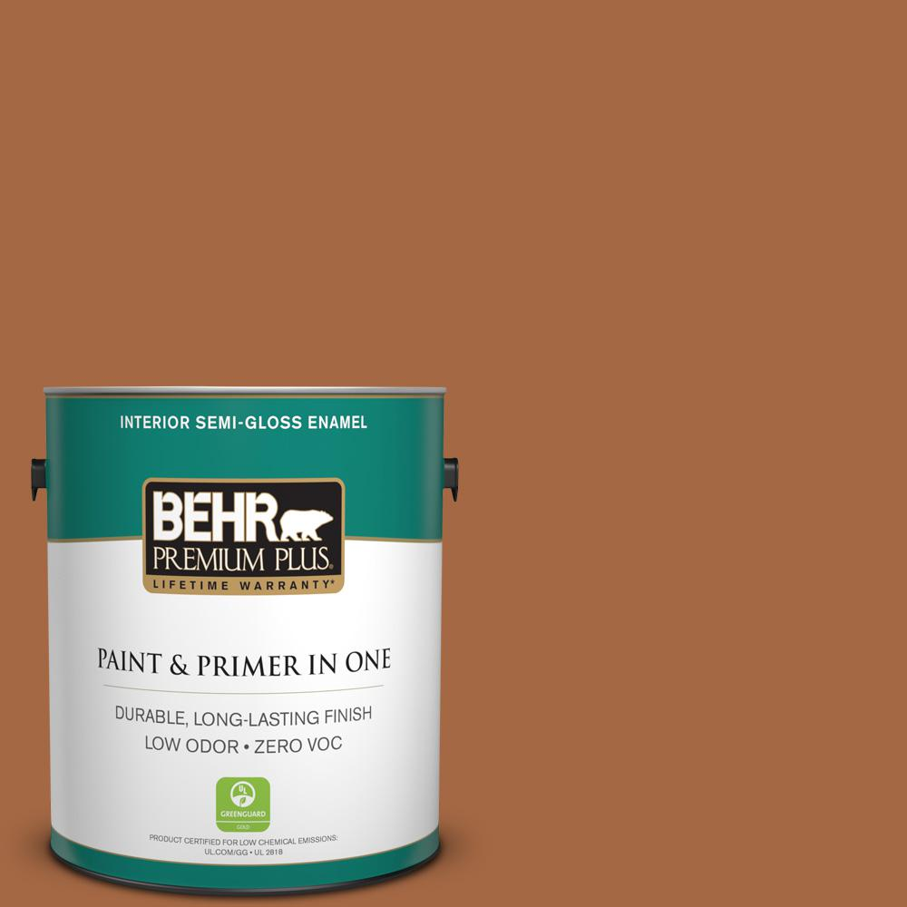 1 gal. #PPU3-16 Maple Glaze Zero VOC Semi-Gloss Enamel Interior Paint