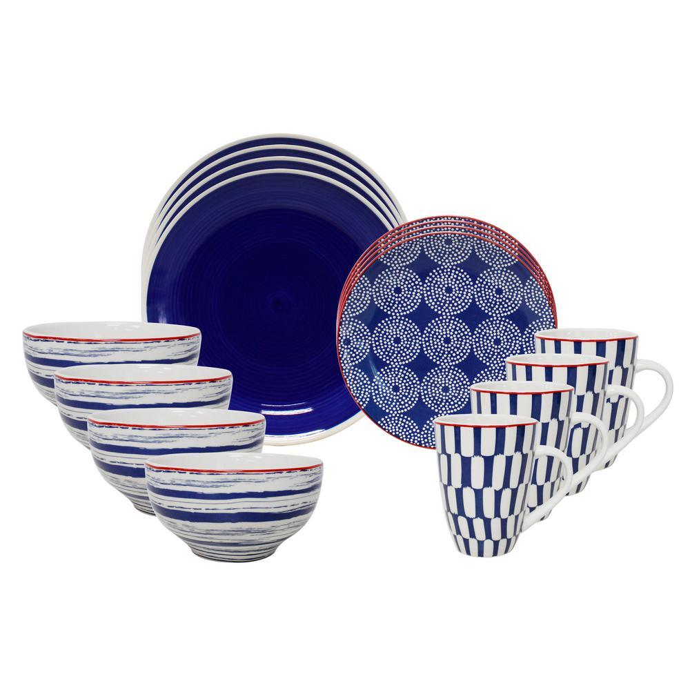 Simpatico 16-Piece Blue Dinnerware Set