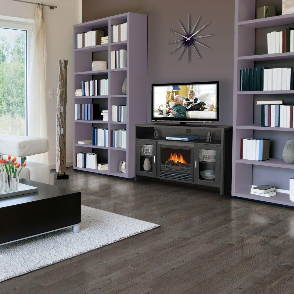 Quality Craft 43 in. Media Console Electric Fireplace in Black-DISCONTINUED
