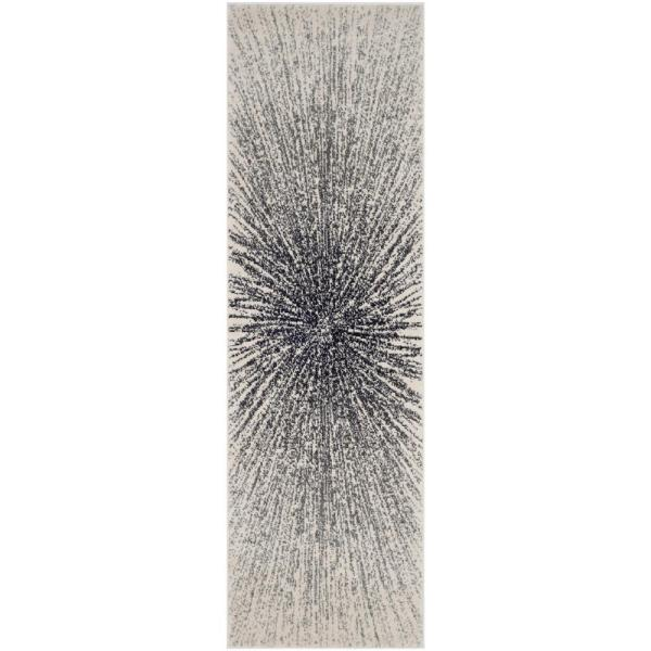 Evoke Black/Ivory 2 ft. x 11 ft. Runner Rug