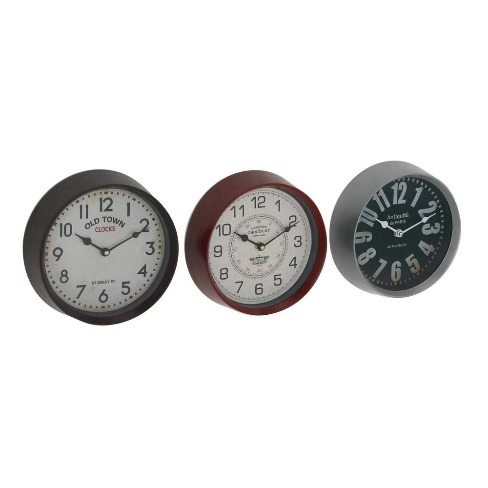 Multi-Colored Traditional Wall Clocks (Set of 3)