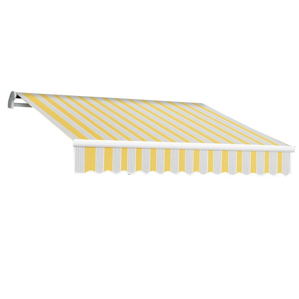 null 10 ft. Maui-LX Right Motor Retractable Acrylic Awning with Remote (96 in. Projection) in Yellow/Gray/Terra