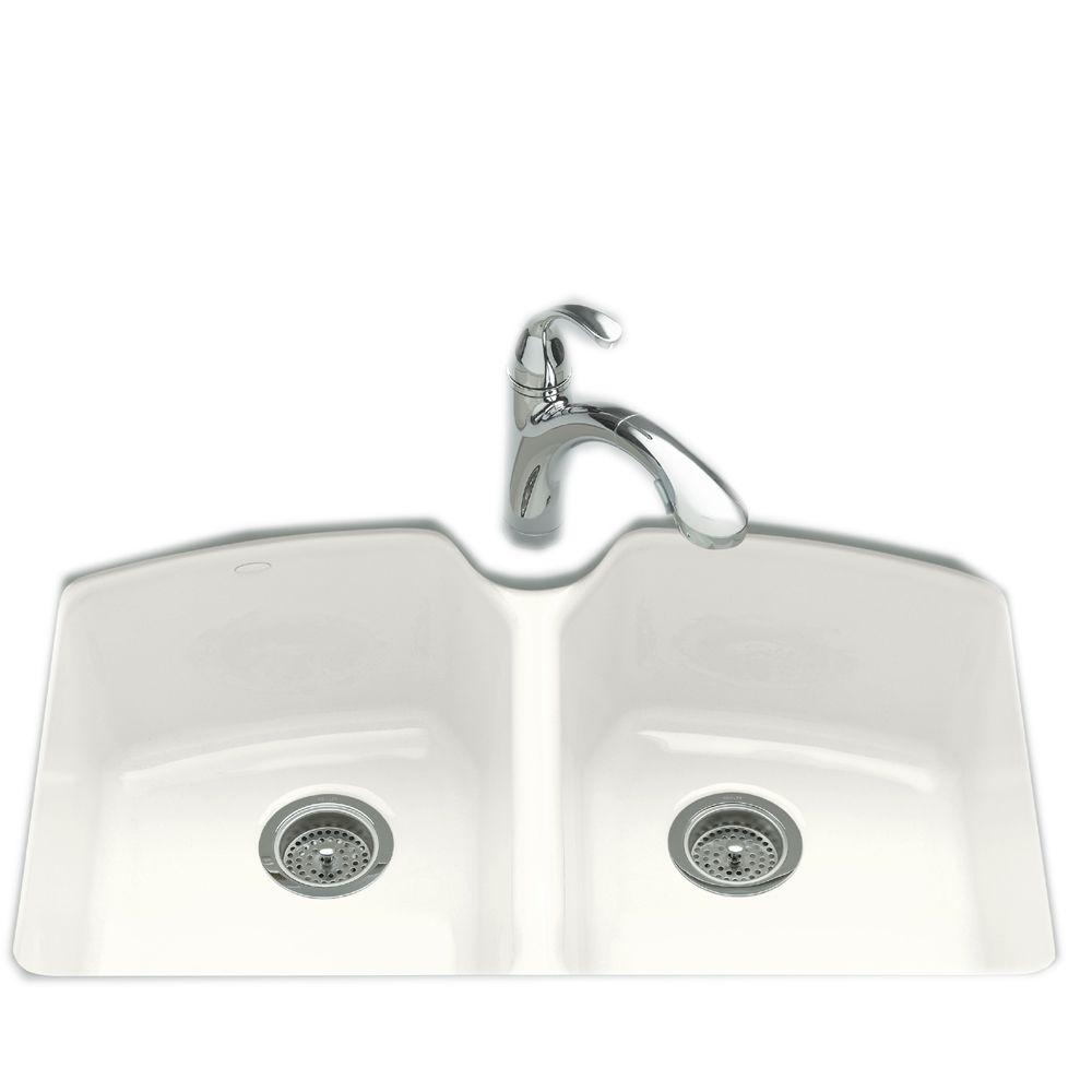 KOHLER Tanager Undermount Cast-Iron 33 in. 3-Hole Double Bowl Kitchen Sink in White