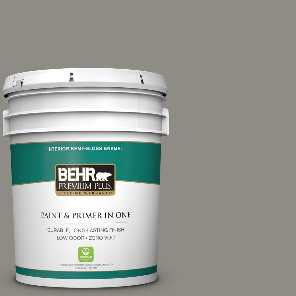 BEHR Premium Plus 5-gal. #T13-17 Timber Town Zero VOC Semi-Gloss Enamel Interior Paint