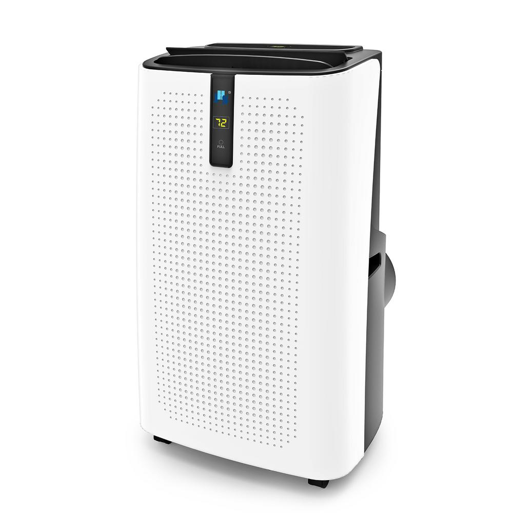 JHS 14,000 BTU Portable Air Conditioner with Dehumidifier with Remote in White and Titanium Gray