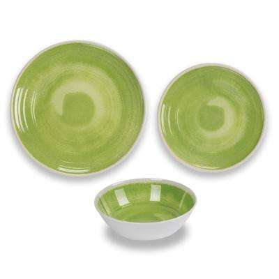 12-Piece Green Raku Dinnerware Set