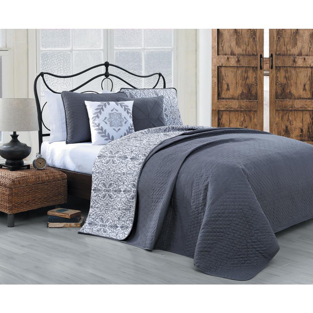 Capri 5-Piece Grey Queen Quilt Set
