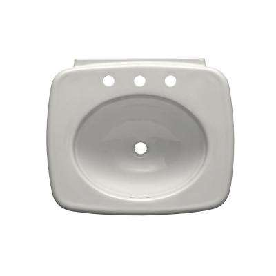 Bancroft Vitreous China Pedestal Sink Basin in White with Overflow Drain