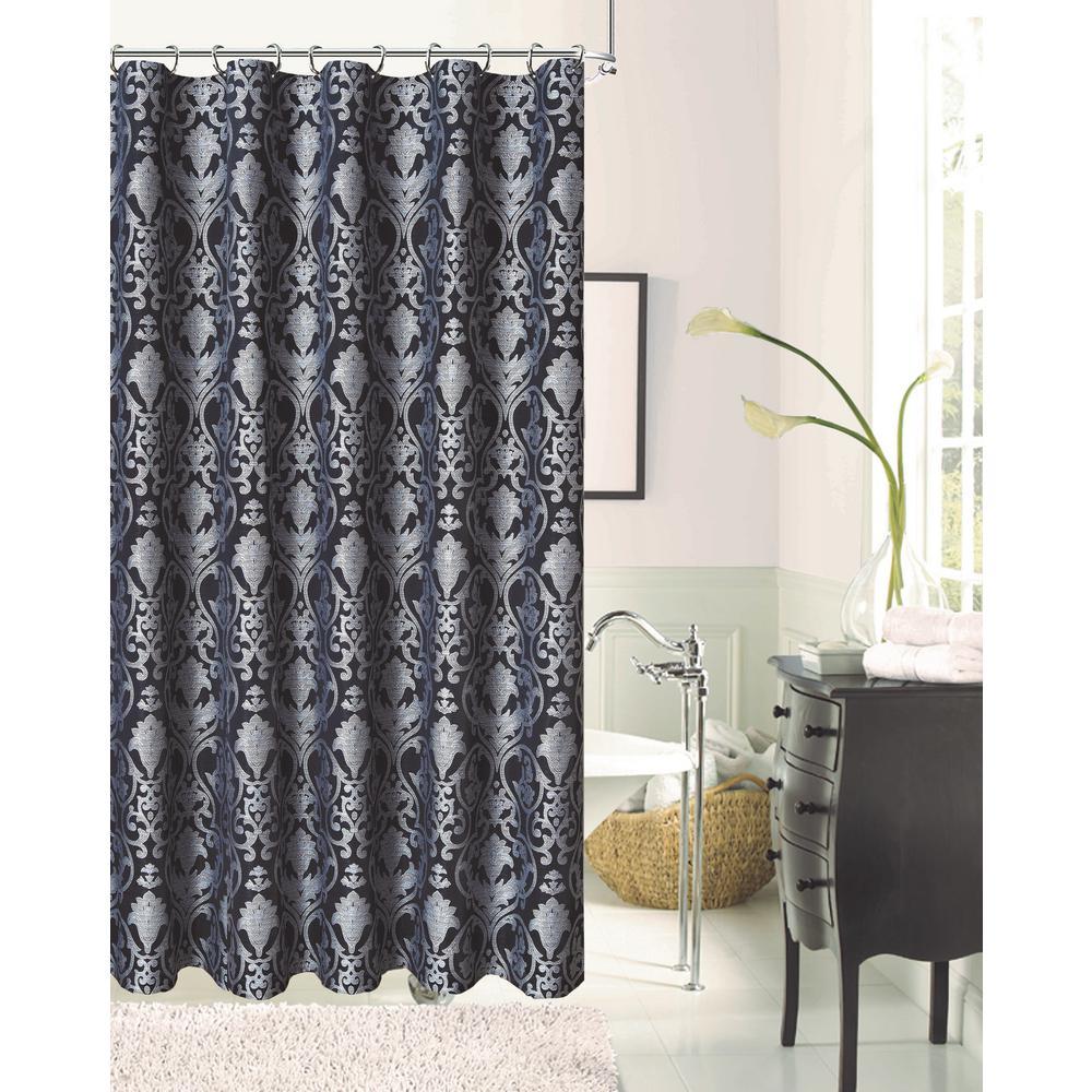 Dainty Home La Vista 72 in. Black Damask Print Shower Curtain ...