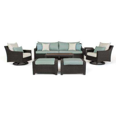Deco 8-Piece All-Weather Wicker Patio Deluxe Sofa and Motion Club Chair Conversation Set with Spa Blue Cushions