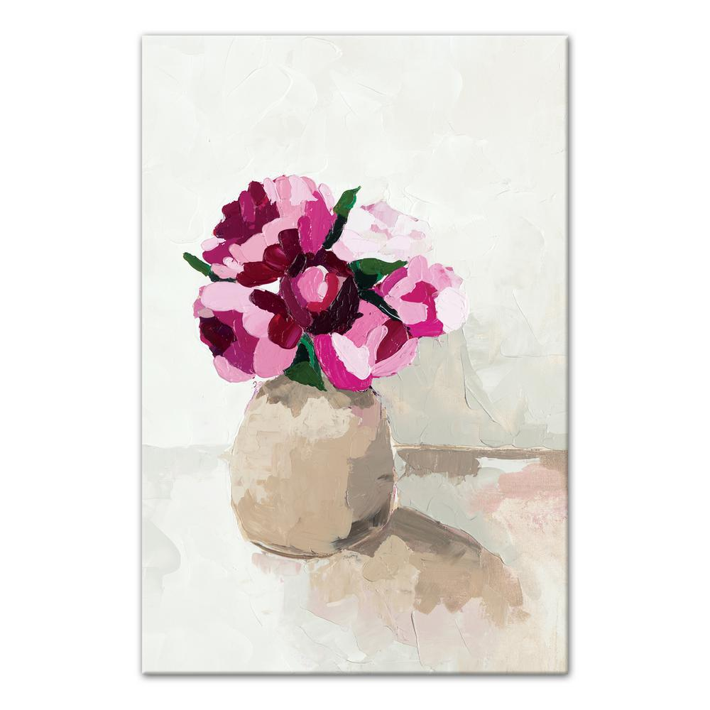 Designs Direct 20 In X 30 In Little Pink Flowers In White Vase