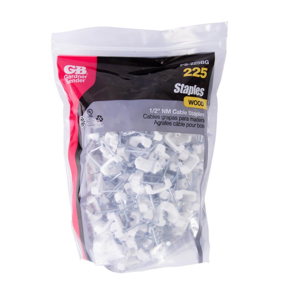 """1//2/"""" White 225//Bag Zinc Plated Nail Gardner Bender PS-225BG Plastic Staple"""