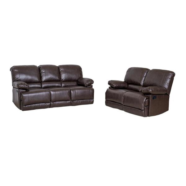 CorLiving Lea 2-Piece Chocolate Brown Bonded Leather Reclining Sofa Set