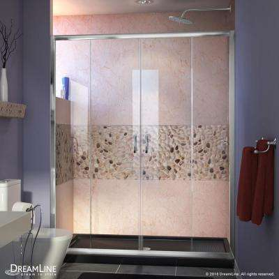 Visions 60 in. W x 30 in. D x 74-3/4 in. H Semi-Frameless Shower Door in Chrome with Black Base Center Drain