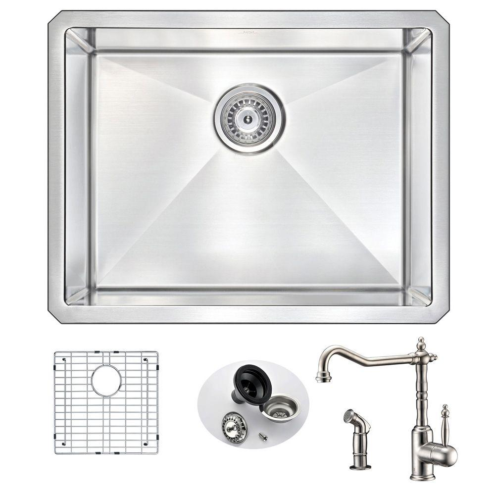 Anzzi Vanguard Undermount Stainless Steel 23 In Single Bowl Kitchen