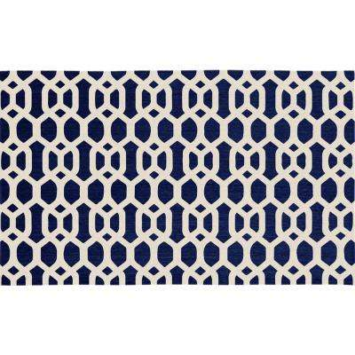 Washable Hexagon Fretwork Navy Blue 3 ft. x 5 ft. Stain Resistant Area Rug