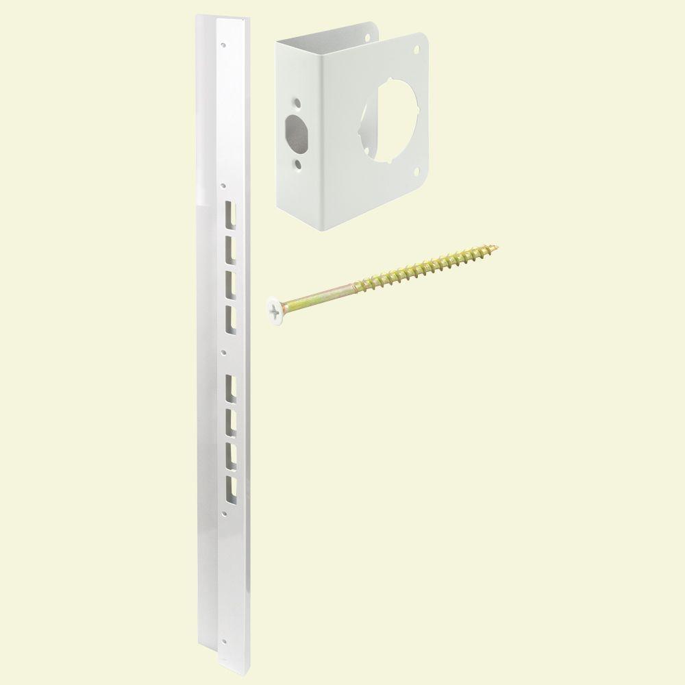 Prime Line Mega Jamb Reinforcing Kit For 2 3 8 In Backset For 1 3 4 In Doors Steel White U 10893 The Home Depot