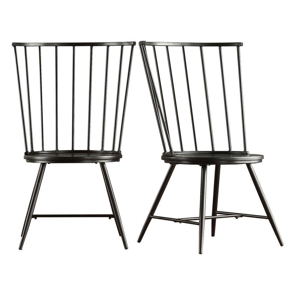 Walker Black Wood And Metal High Back Dining Chair Set Of 2